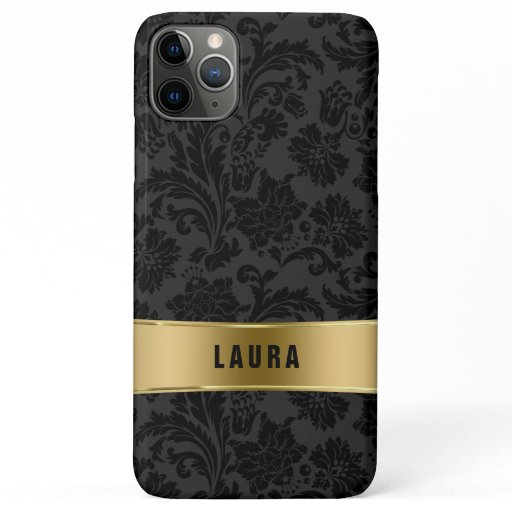 Black and gray vintage damasks pattern gold accent iPhone 11 pro max case