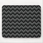 "Black and Gray Zig Zag Pattern. Mouse Pad<br><div class=""desc"">A stylish pattern design of black and gray chevron stripes. A monochrome zig zag design.</div>"