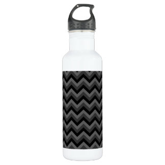 Black and Gray Zig Zag Pattern. Stainless Steel Water Bottle