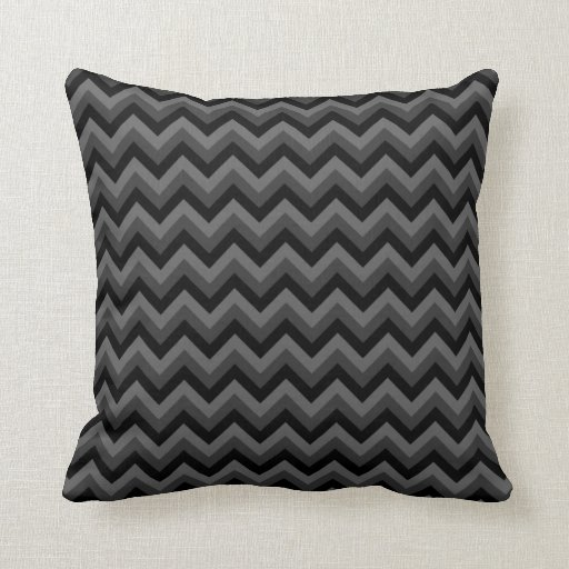 Decorative Pillows Black And Grey : Black and Gray Zig Zag Pattern. Throw Pillow Zazzle