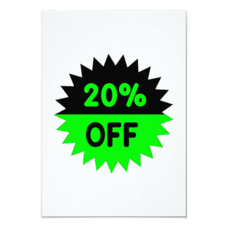 Black and Green 20 Percent Off Invites
