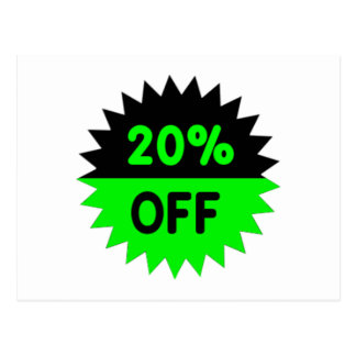 Black and Green 20 Percent Off Postcard