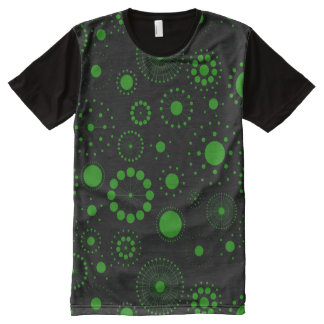 Black And Green Abstract Circles And Stars Pattern All-Over-Print T-Shirt