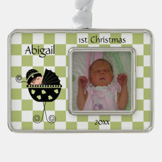Black and Green Baby's 1st Christmas Ornament Silver Plated Framed Ornament