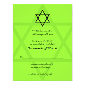 Black and Green Bar Mitzvah Reply Card