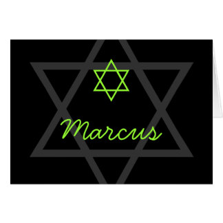 Black and Green Bar Mitzvah Thank You Card