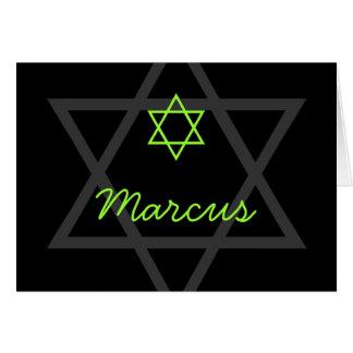 Black and Green Bar Mitzvah Thank You Card