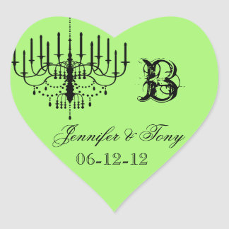 Black and Green Chandelier Custom Heart Stickers