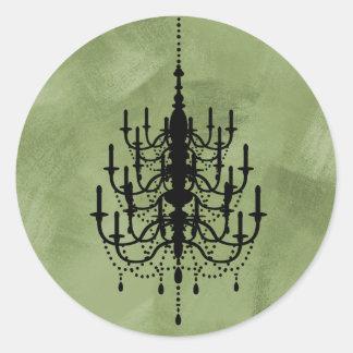 Black and Green Chandelier Wedding Seal Classic Round Sticker
