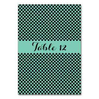 Black And Green Checkered Graphics Wedding Squares Card
