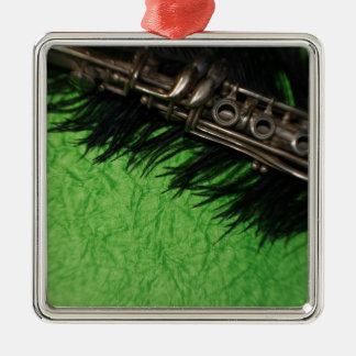 Black and Green Clarinet Metal Ornament