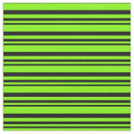 [ Thumbnail: Black and Green Colored Lined/Striped Pattern Fabric ]