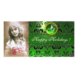 BLACK AND GREEN  DAMASK Emerald Monogram Card