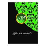 BLACK AND GREEN DAMASK MONOGRAM,emerald Invitations