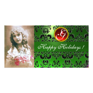 BLACK AND GREEN  DAMASK Red Ruby Monogram Photo Card