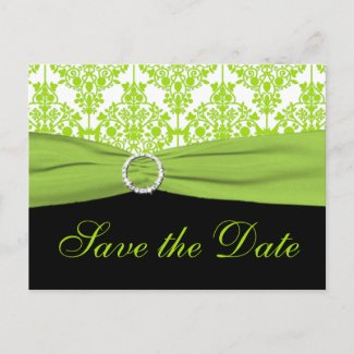 Black and Green Damask Save the Date Postcard postcard