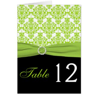 Black and Green Damask Table Number Card card