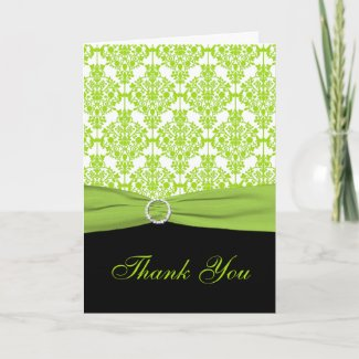 Black and Green Damask Thank you Card card