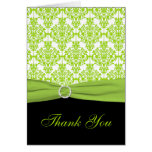 Black and Green Damask Thank you Card Greeting Card