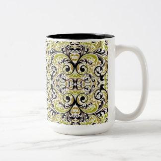 Black And Green Damask Two-Tone Coffee Mug