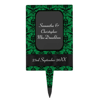 Black and green damask wedding cake topper