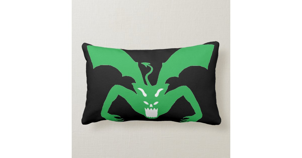Black And Green Devil Throw Pillow Zazzle