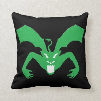 Black And Green Devil Throw Pillow