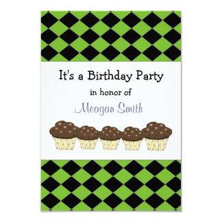 Black and Green Diamond Birthday Invitation