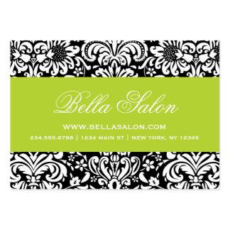 Black and Green Elegant Floral Damask Business Card Template