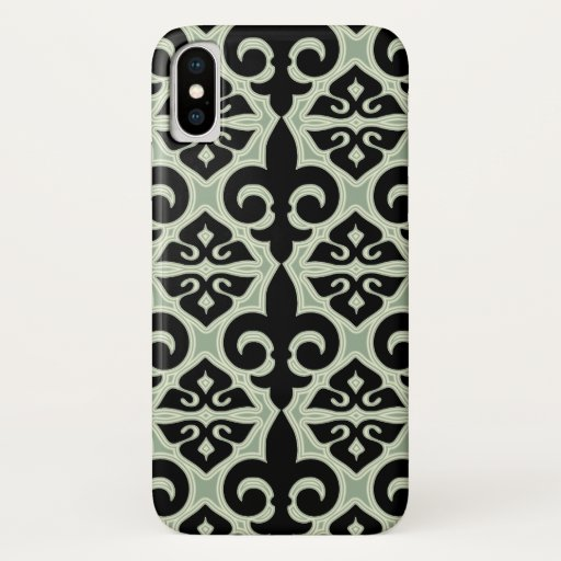 Black and Green Fleur De Lis Pattern iPhone X Case