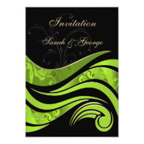 black and green flourish wedding invitation