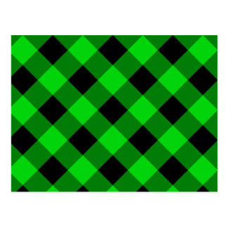 Black and Green Gingham Pattern Postcard