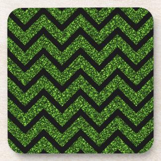 Black and Green Glitter Chevron Stripes Pattern Beverage Coaster