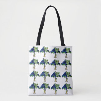 Black and green grapes on stand -Tote bag