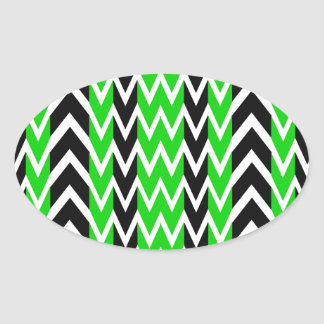 Black and Green Heartbeats Oval Sticker