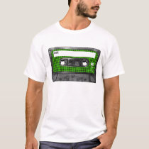 Black and Green Houndstooth Label Cassette T-Shirt