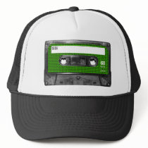 Black and Green Houndstooth Label Cassette Trucker Hat