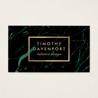 Black and Green Marble with Faux Gold Text I Business Card