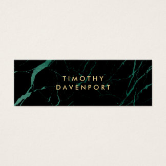 Black and Green Marble with Faux Gold Text Mini Mini Business Card