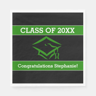 Black and Green Mortarboard Graduation Party Napkin