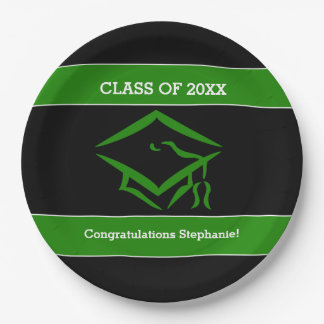 Black and Green Mortarboard Graduation Party Paper Plate