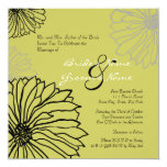 "Black and Green Mum Flowers Wedding Invitation 5.25"" Square Invitation Card"