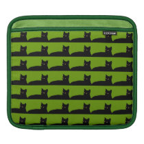 black and green pattern cat iPad sleeve