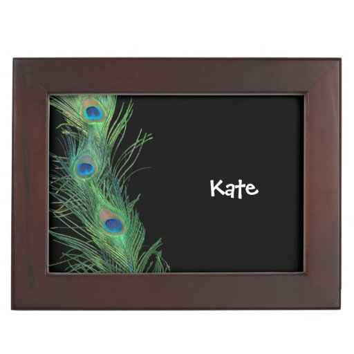 Black and Green Peacock Feather Keepsake Box