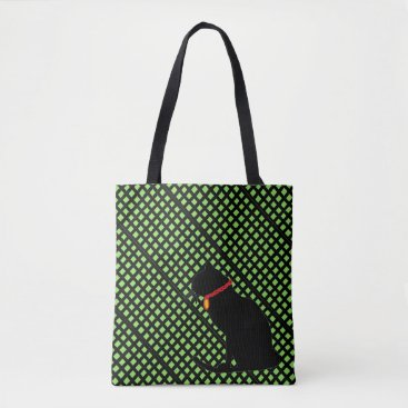 Beach Themed Black And Green Plaid Cat Graphic Bag For Shopping