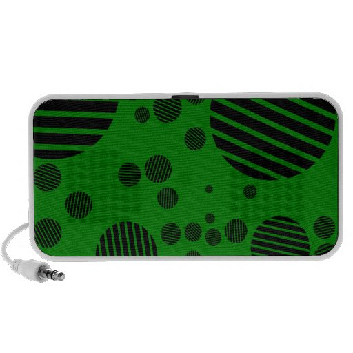 Black and Green Polka Dot Pattern PC Speakers