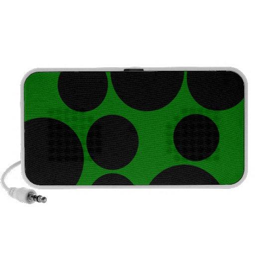Black and Green Polka Dot Pattern Notebook Speakers