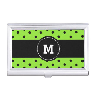 Black and Green Polka Dots Business Card Case