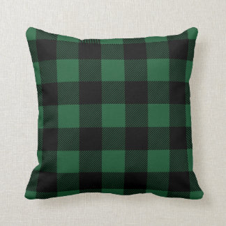 Black and Green Preppy Buffalo Check Plaid Throw Pillow