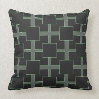Black and Green Reversible Block Pattern Throw Pillows
